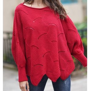 Sweaters - Red - Knit Dolman Sleeve Sweater